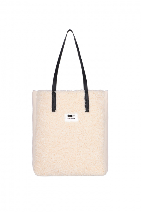 Bag 3002 in white eco-sheepskin