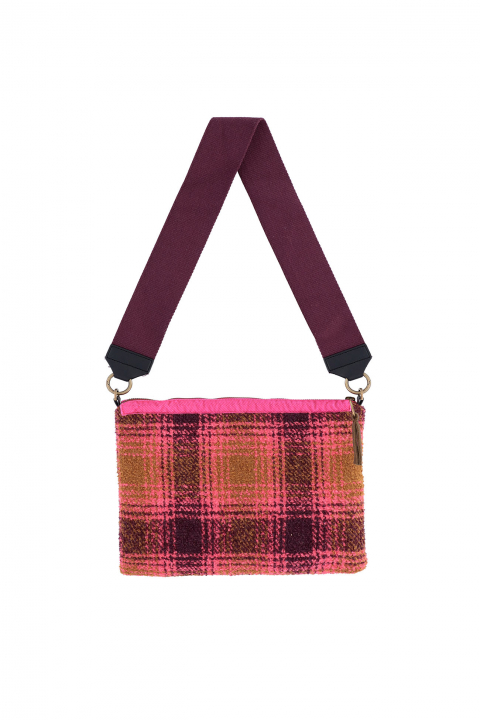 Bag 3003 in caramel/fuchsia check wool blend