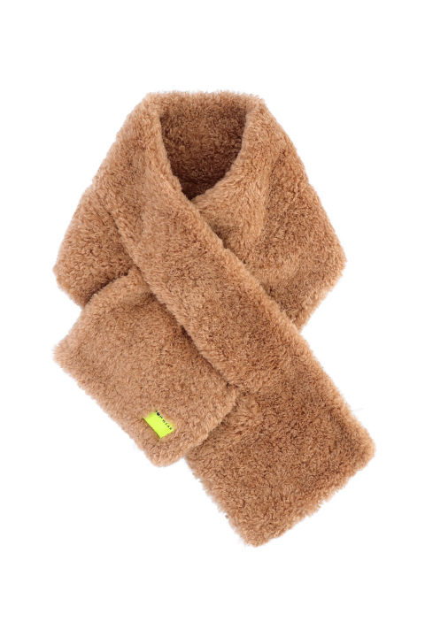 Scarf 3007 in camel curly pile faux fur