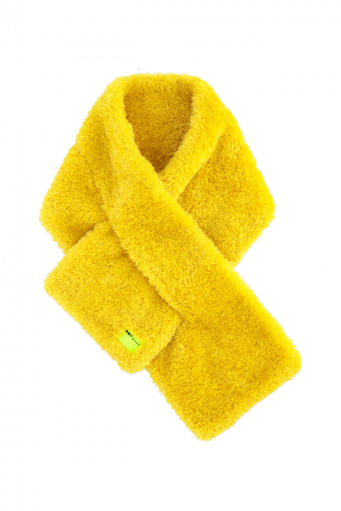 Scarf 3007 in yellow curly pile faux fur
