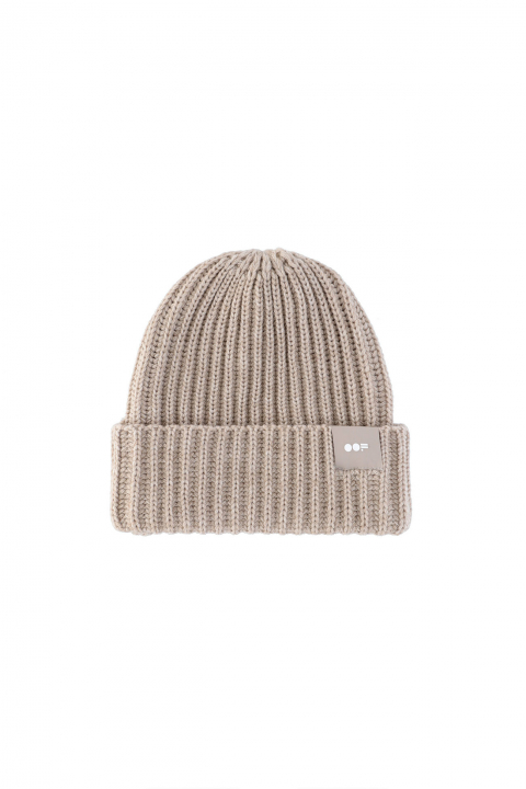 Beanie 3013 in ecru ribbed wool