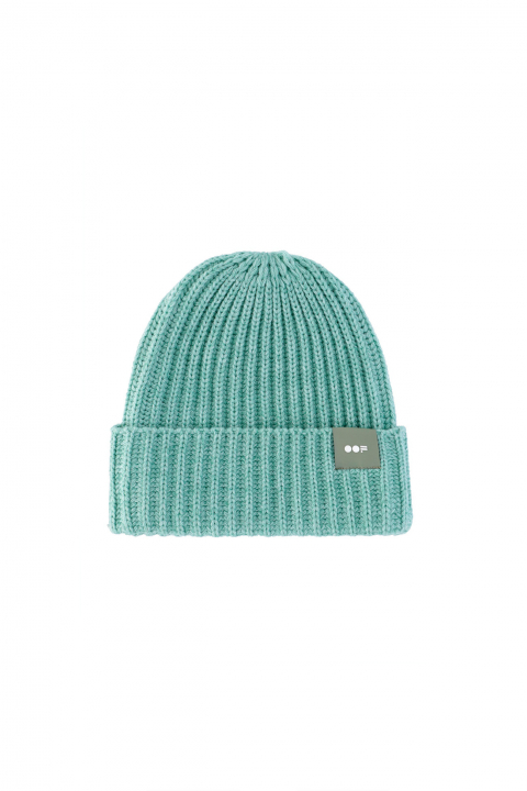 Beanie 3013 in aquamarine ribbed wool
