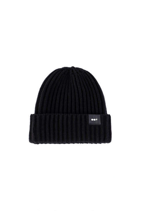 Beanie 3013 in black ribbed wool
