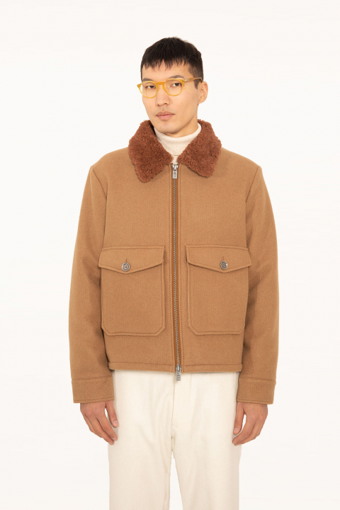 Short jacket 5004 in tobacco wool blend