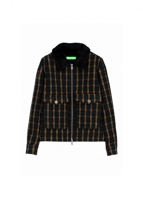 Short jacket 5004 in green/yellow wool blend