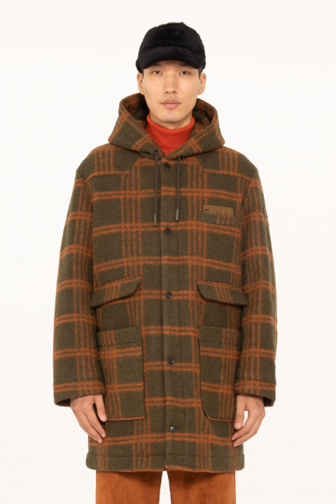 Long coat 5006 in check wool blend