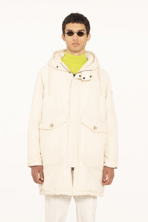 Oversized parka in cream polyester
