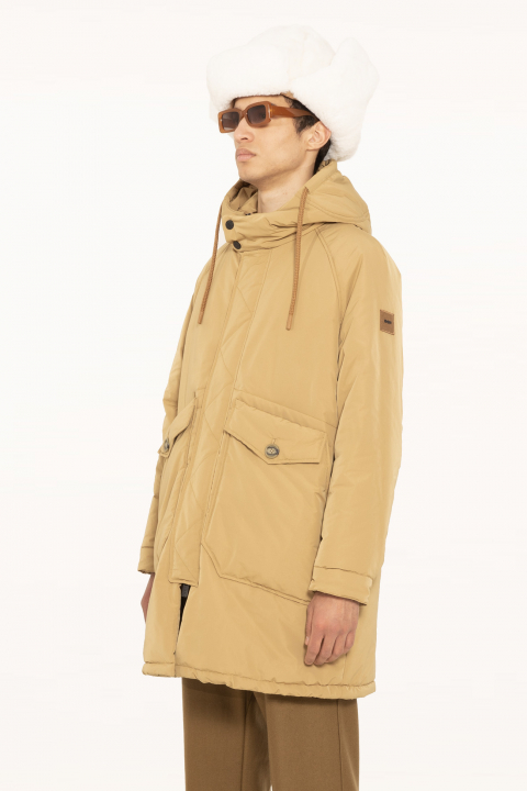 Oversized parka in tobacco polyester
