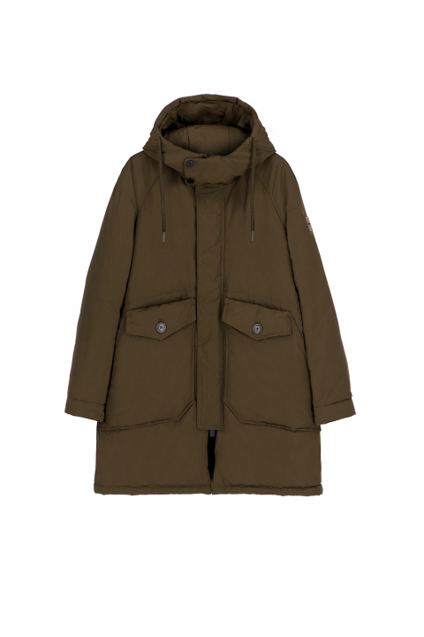 Oversized parka in green polyester