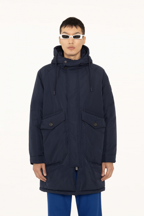 Oversized parka in blue polyester