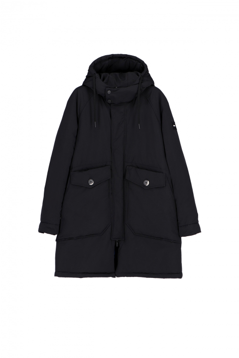 Oversized parka in black polyester