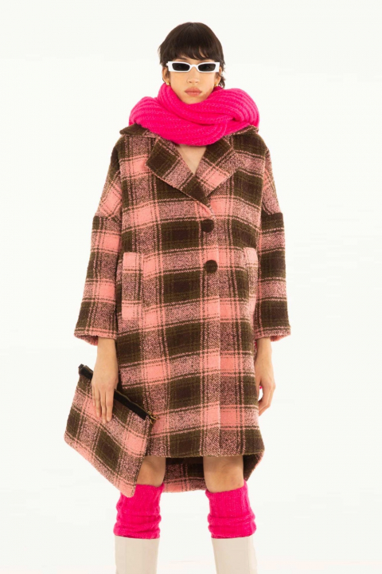 Long coat 9002 inpink/green wool blend