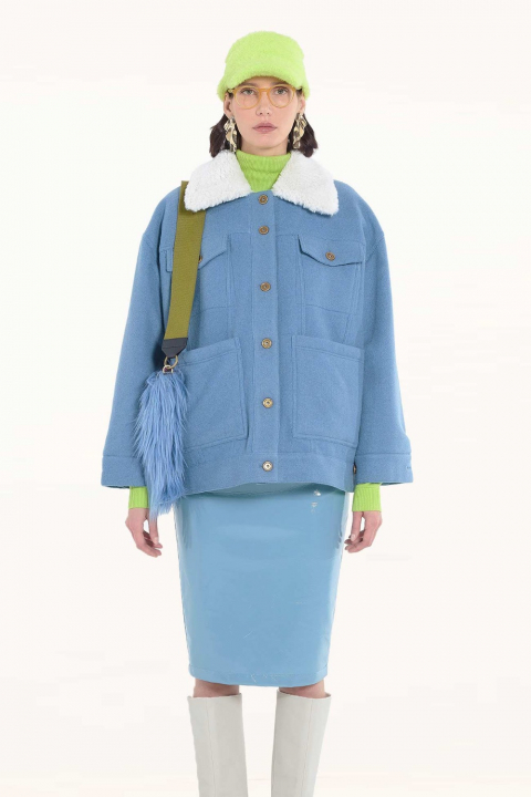 Short jacket 9003 in cerulean wool blend