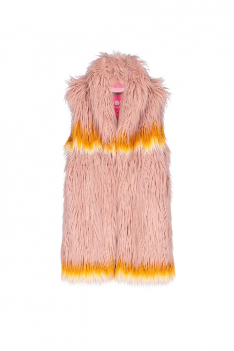 Long gilet 9004 in powder faux fur