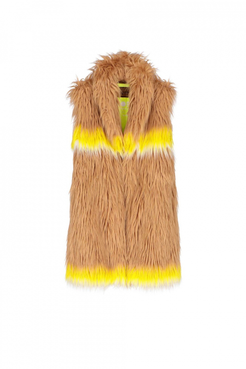 Long gilet 9004 in beige faux fur