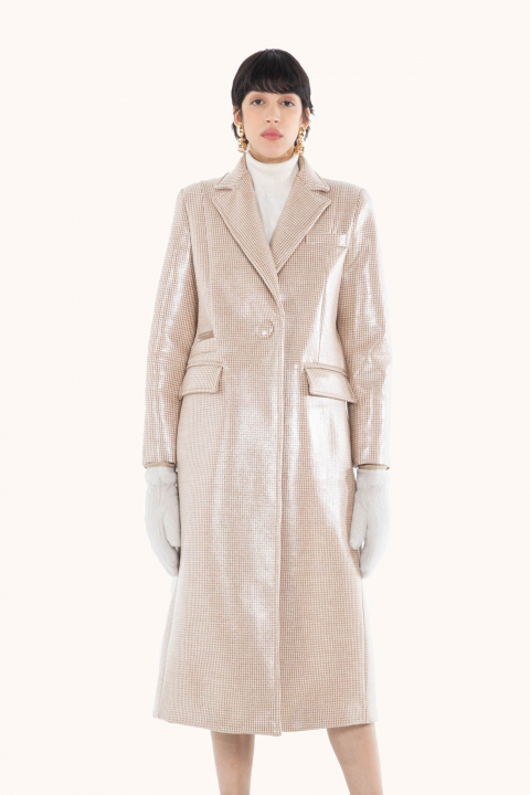 Long coat 9007 in glossy check fabric sand/ivory