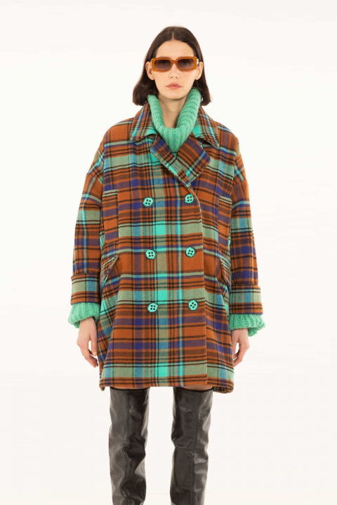Oversize coat in check wool blend