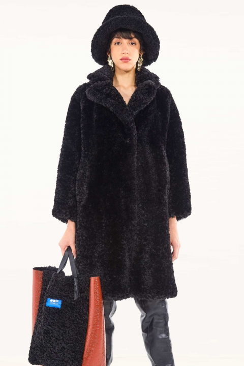 Oversize Faux Fur Coat 9010 black
