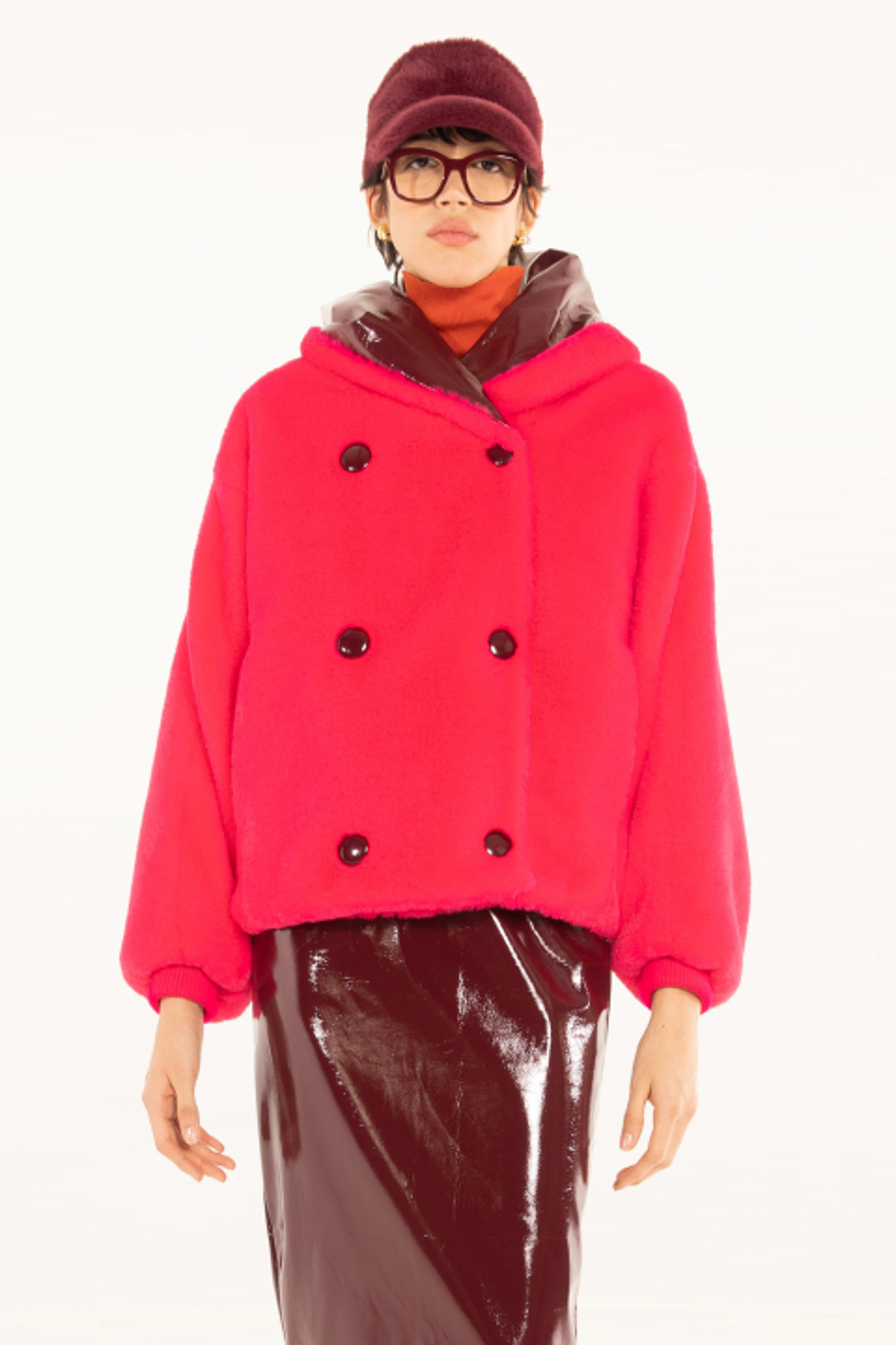 Short Faux Fur 9012 fuchsia/brick