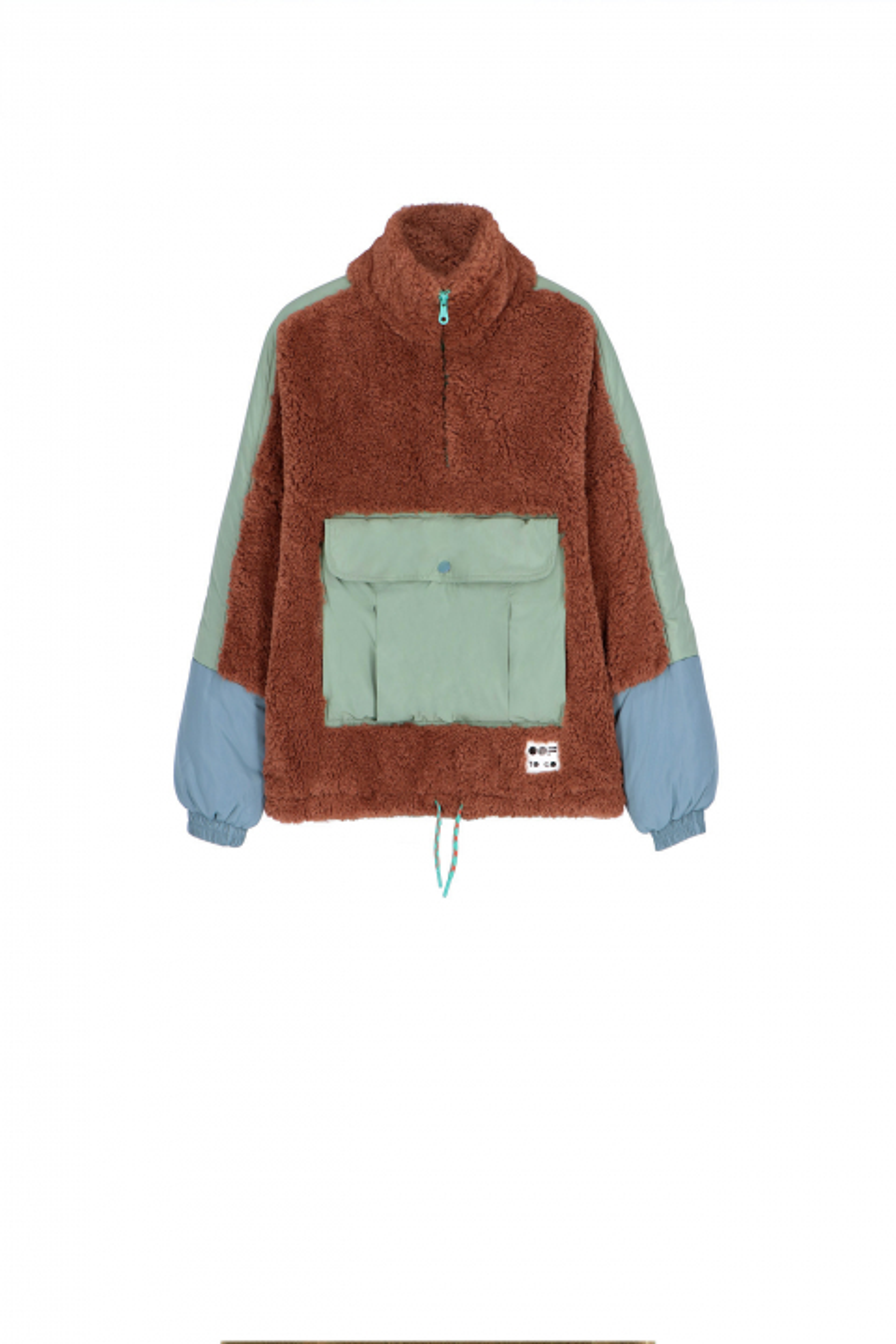 Oversized sweatshirt 9018 in terracotta faux fur