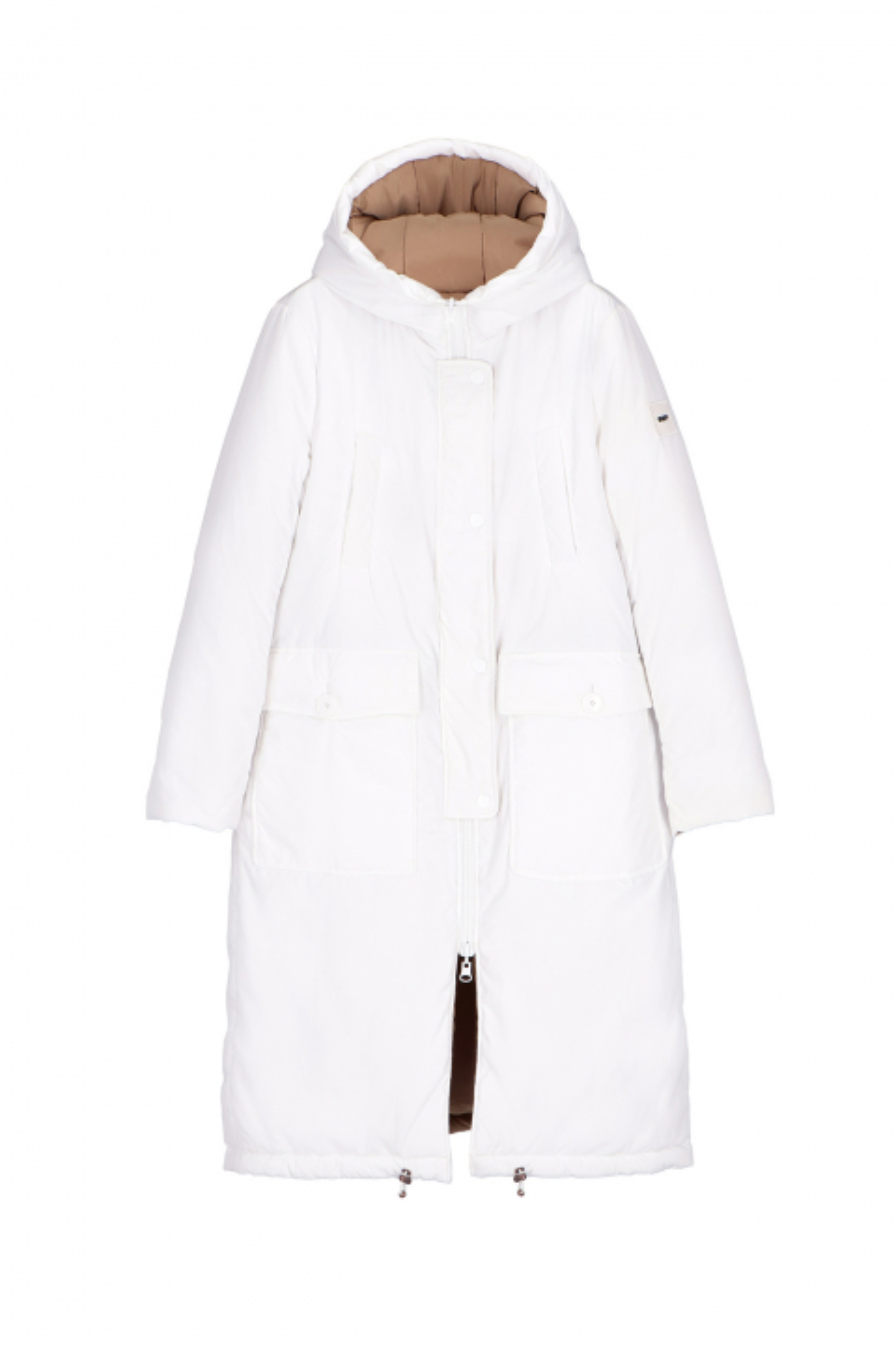 Long Parka 9280 in white/camel nylon