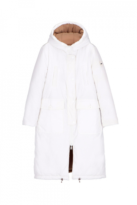 Long Parka 9280 in white/camel nylon