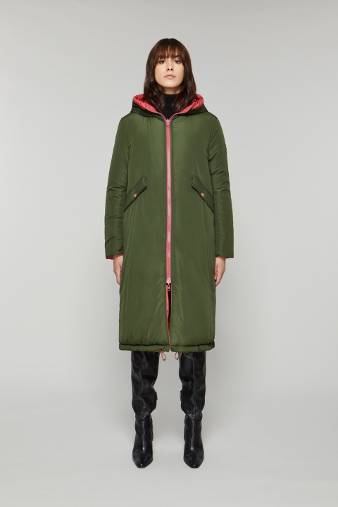 Long Parka 9280 in pink/green nylon