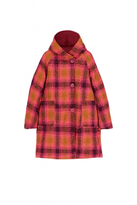 Parka 9410 in plum check wool blend and shape memory