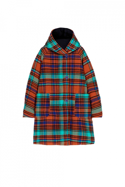 Parka 9410 in black check wool blend and shape memory