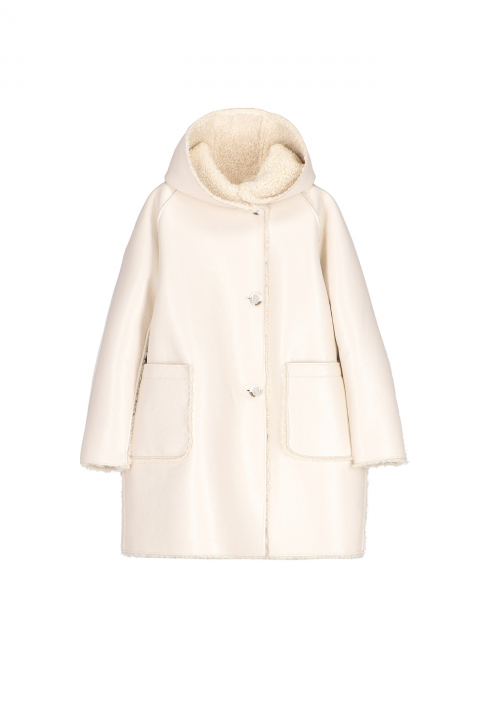 Parka 9411 in white patent eco-sheepskin