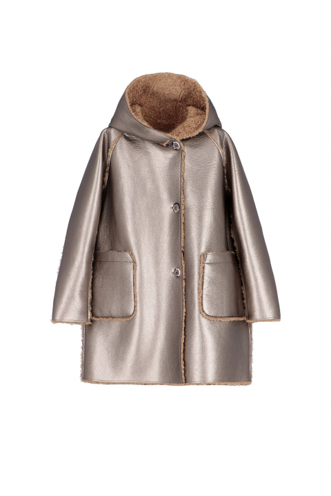 Parka 9411 in dove patent eco-sheepskin