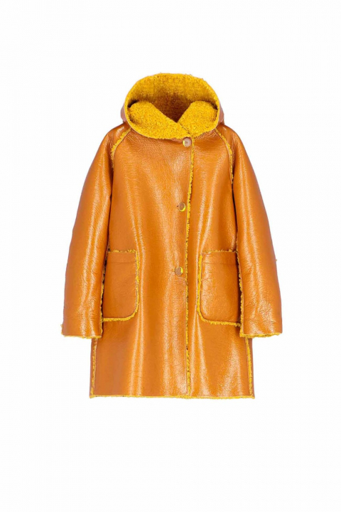 Parka 9411 in yellow patent eco-sheepskin