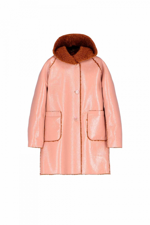 Parka 9411 in pink patent eco-sheepskin