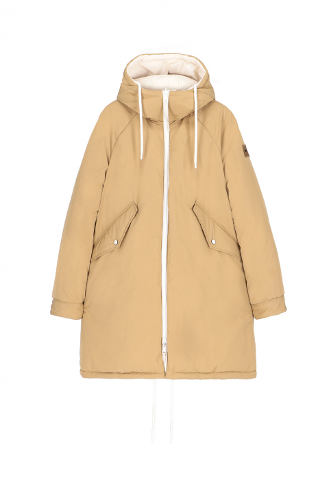 Oversized Parka 9500 in cream/tobacco polyester