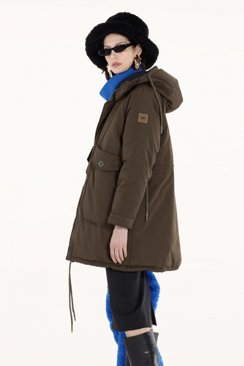 Oversized Parka 9500 in green/black polyester