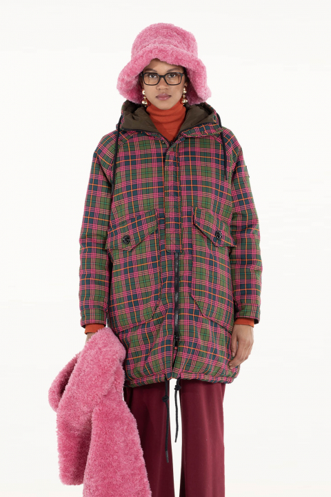Oversized Parka 9500 in check/military polyester