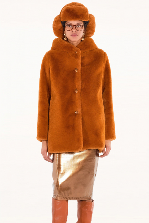 Long faux fur 9790 in terracotta/gold