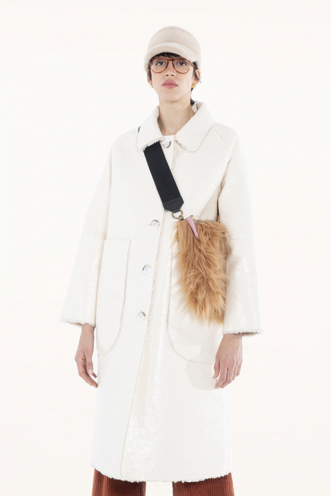 Long coat 9810 in white eco-sheepskin