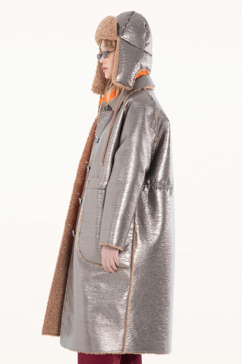 Long coat 9810 in dove eco-sheepskin