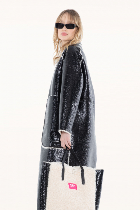 Long coat 9810 in black eco-sheepskin