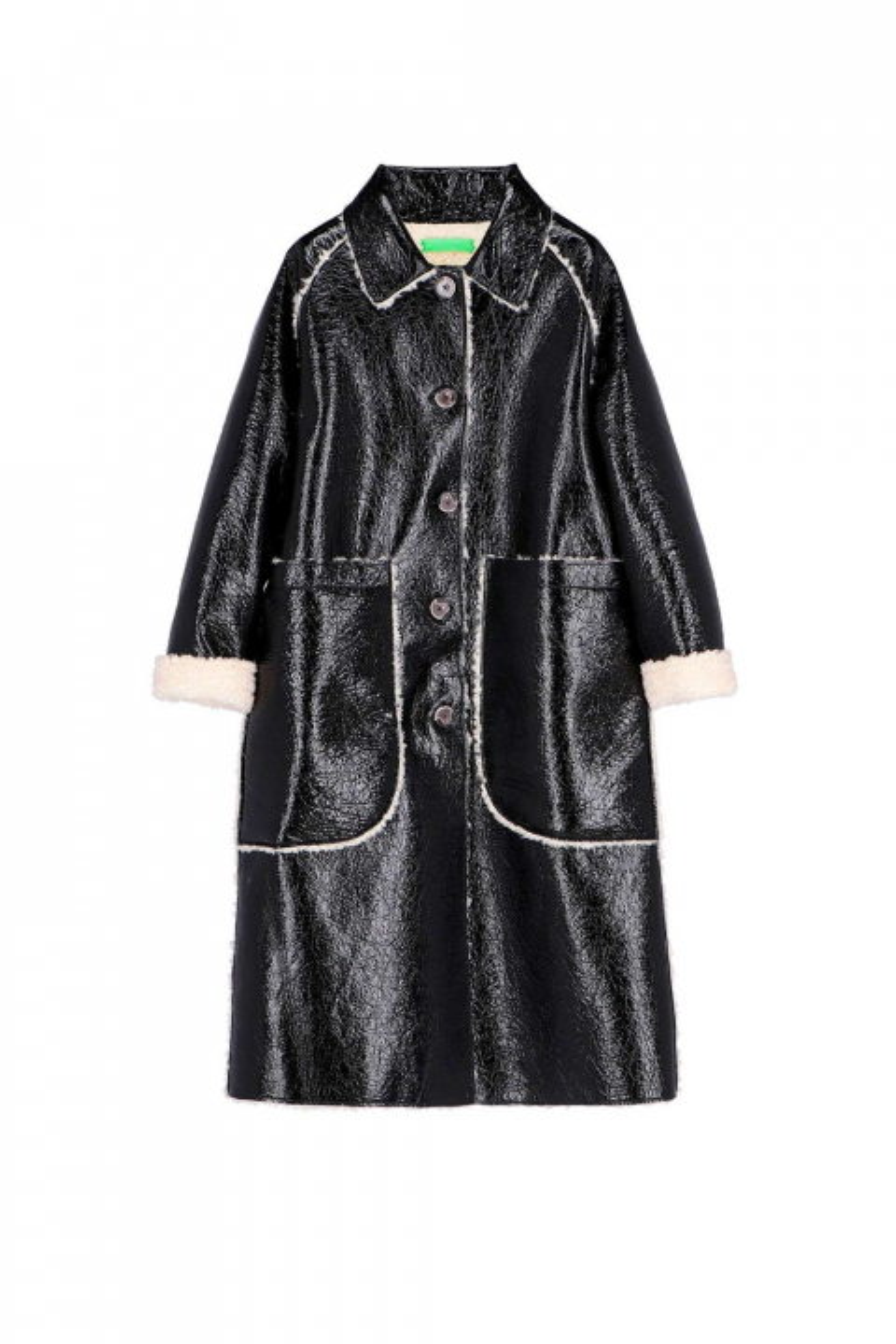 Long coat 9810 in black eco-sheepskin