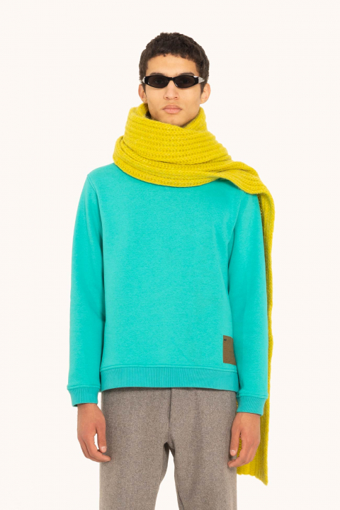 Sweatshirt 4000 in turquoise cotton blend