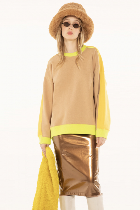 Sweatshirt 4002 in camel cotton blend