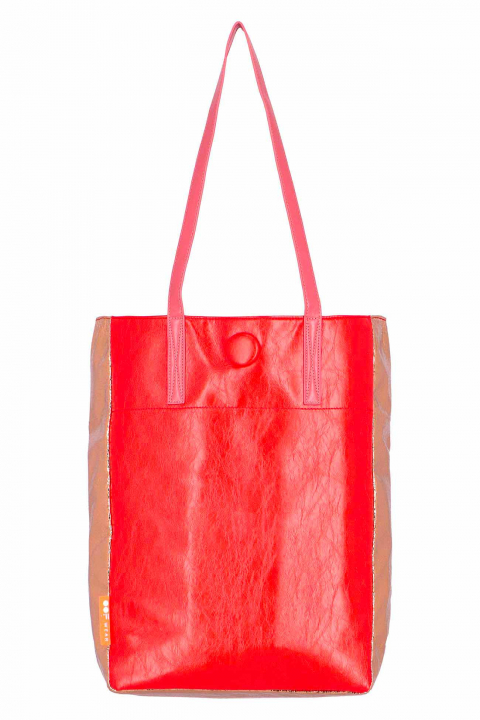 Shopper 3016 in eco-leather  red