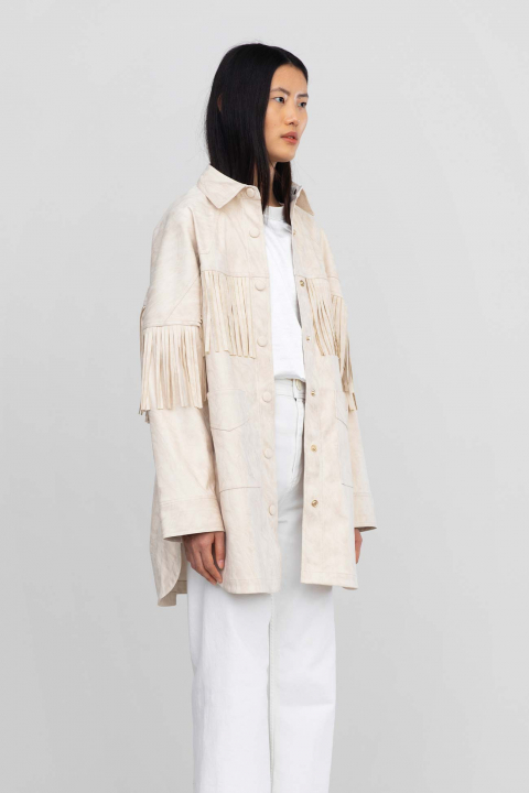 Shirt jacket 9022 in eco-suede white