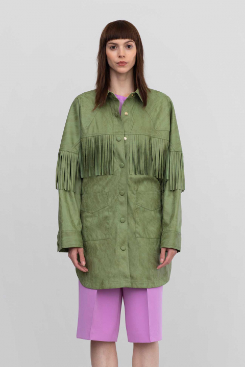 Shirt jacket 9022 in eco-suede pastel green