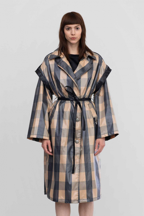 Trench 9025 in check cotton and nylon beige/black