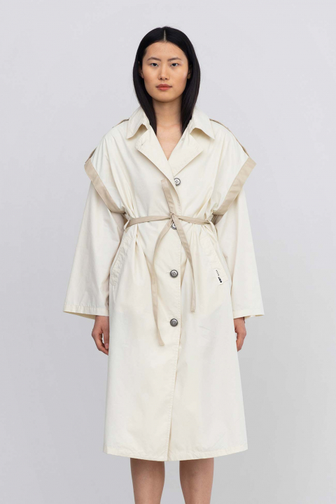 Trench 9025 in cotton hand peach white