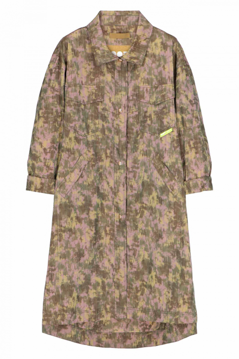 Long overcoat 9027 in recycled fabric green/lilac