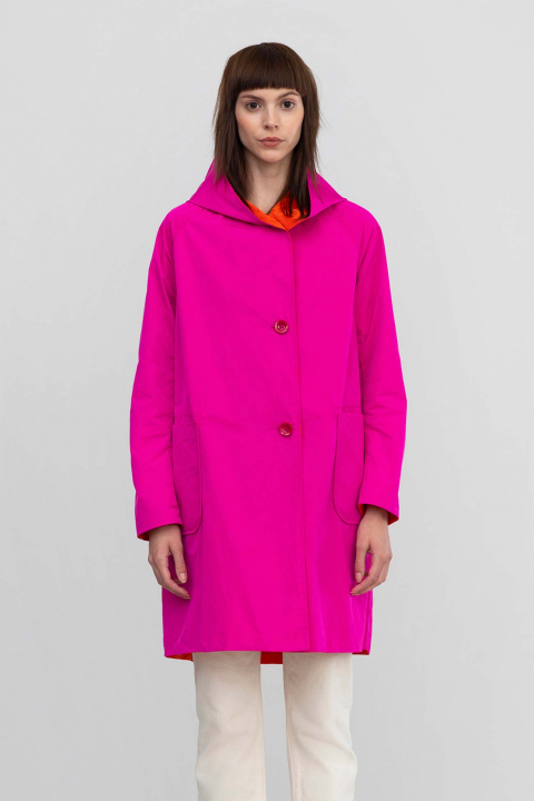 Reversible parka 9410 in memory fuchsia/coral